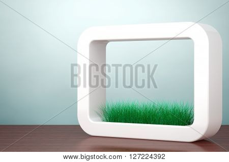 Old Style Photo. Grass in White Ceramics Planter on the table. 3d rendering