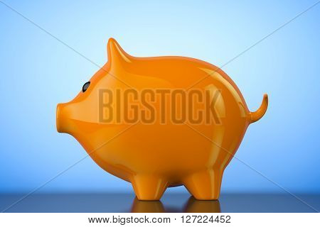 Orange Piggy bank style money box on a blue background. 3d Rendering