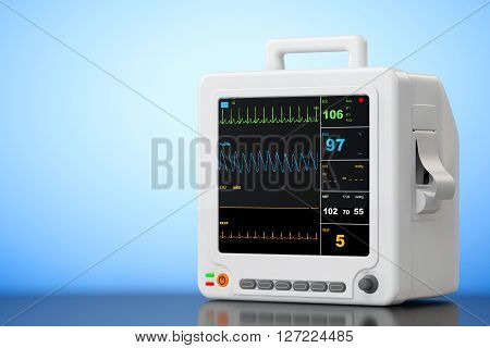 Health care portable cardiac monitoring equipment on a blue background. 3d Rendering