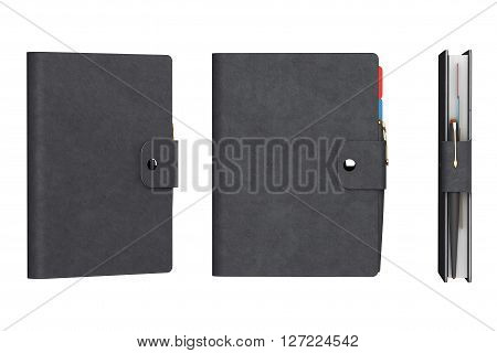 Personal Diary or Organiser Books with Leather Cover on a white background. 3d Rendering
