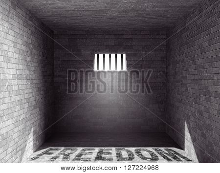 Prison with light and Freedom Shadow through a barred window. 3d Rendering
