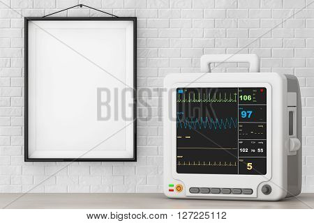 Health Care Portable Cardiac Monitoring Equipment in front of Brick Wall with Blank Frame. 3d Rendering