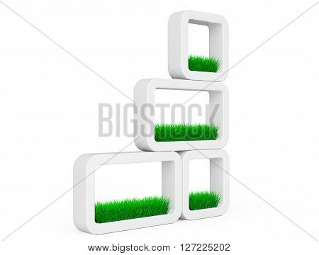 Set of Grass in White Ceramics Planters on a white background. 3d Rendering