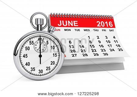 2016 year calendar. June calendar with stopwatch on a white background. 3d rendering