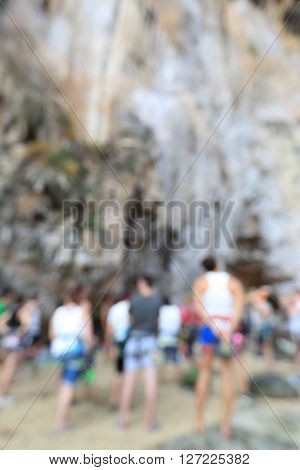 defocused rock climbers ready for climbing outdoor