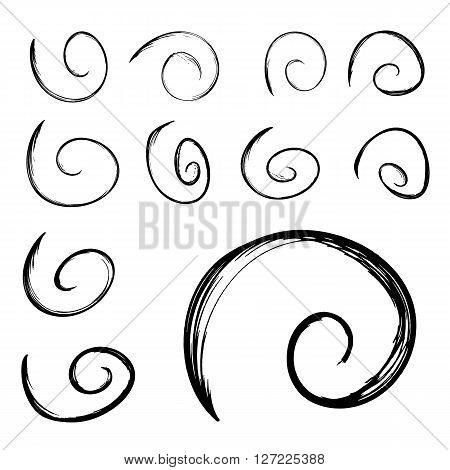 Set of hand drawn vector swirls. Grunge black illustration isolated on white. Creepy design elements