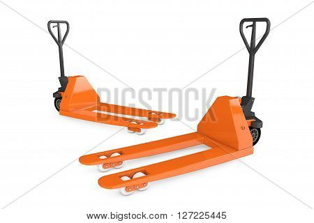 Hand Pallet Trucks on a white background. 3d Rendering