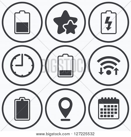 Clock, wifi and stars icons. Battery charging icons. Electricity signs symbols. Charge levels: full, half and low. Calendar symbol.