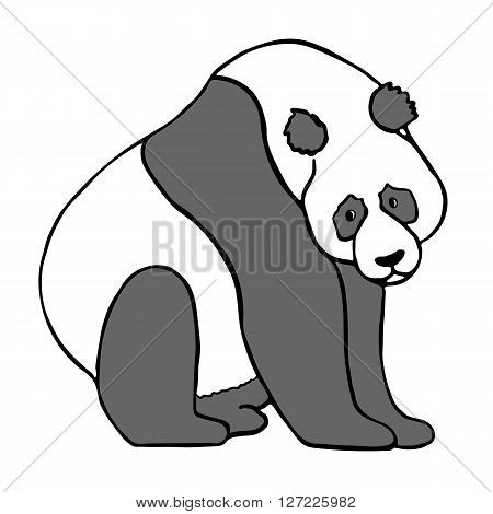 Cute sitting panda bear. Hand drawn vector illustration isolated on white