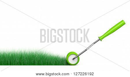 Paint Roller Brush Draws Grass Road on a white background. 3d Rendering