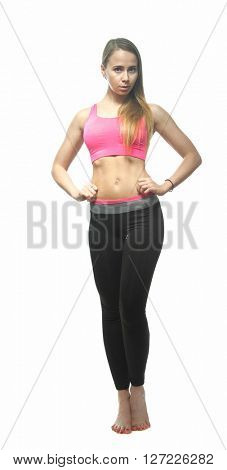 sport  attractive woman dressed in sportswear isolated on white background
