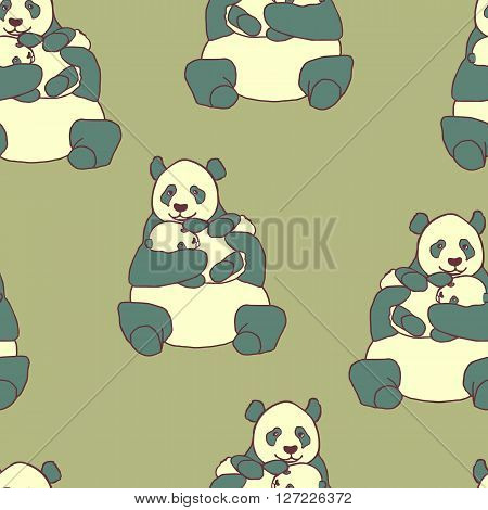 Seamless pattern with panda holding cub. Hand drawn vector illustration on green background. Cute mother panda with little baby