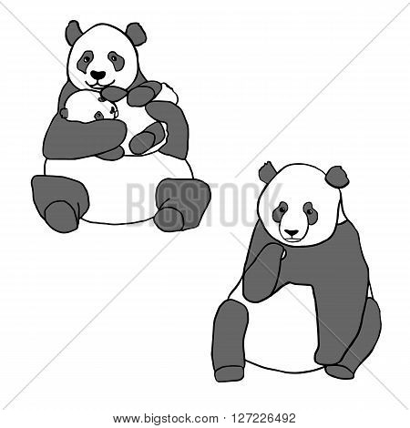 Set of two cute pandas and cub. Hand drawn vector illustrations isolated on white. Cute mother panda with little baby and sitting panda