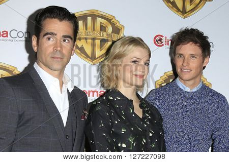 LAS VEGAS - APR 12:  Colin Farrell, Alison Sudol, Eddie Redmayne at the Warner Bros. Pictures Presentation at CinemaCon at the Caesars Palace on April 12, 2016 in Las Vegas, CA