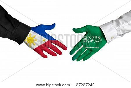 Philippines and Saudi Arabia leaders shaking hands on a deal agreement