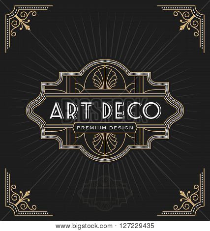 Art deco frame and label design suitable for Luxurious Business such as Hotel Spa Real Estate Restaurant Jewelry. Vector illustration