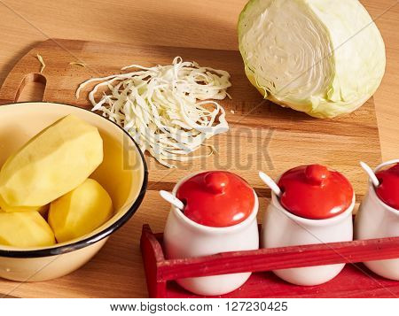 Sliced Cabbage. Slicing Cabbage.
