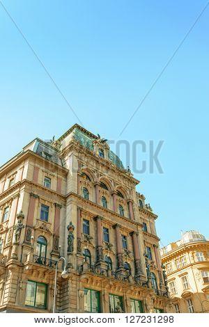 Beautiful street view of old town Vienna, Austria.