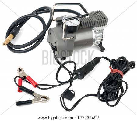 Portable car air compressor. Isolated on white background