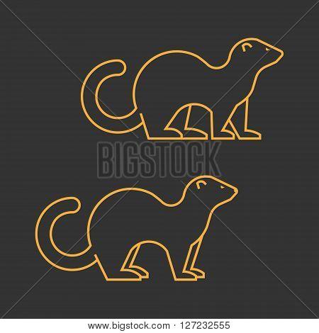 Gold outline vector silhouette ferret on black background.