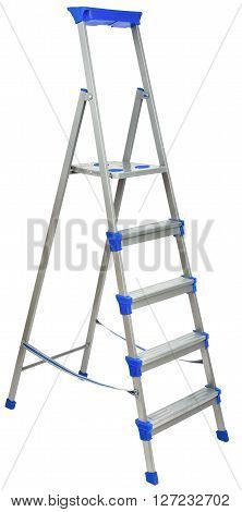 Metal ladder with blue elements isolated on white background