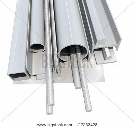 Rolled metal products. Varied metal products. 3D illustration