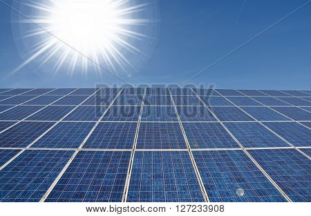 Modern solar panel with bright sun alternative energy concept