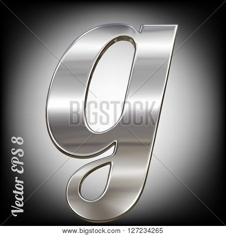 Vector letter g from metal alphabet. Lovercase metal font collection. EPS 8