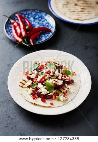 Spicy Fajita with Grilled Aubergine, Feta and Chili Pepper