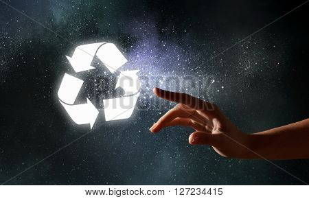 Glowing recycle symbol