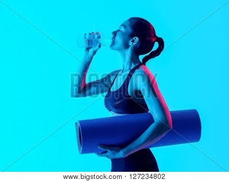 woman fitness exercices isolated drinking water