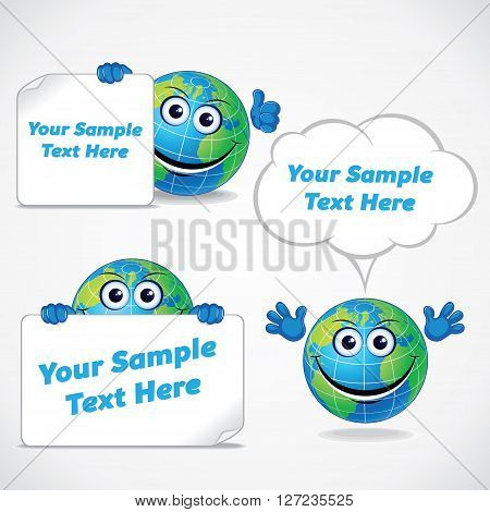 Cartoon World Globe with Banners and Labels. Funny Vector Image Ready for Your Text and Design.