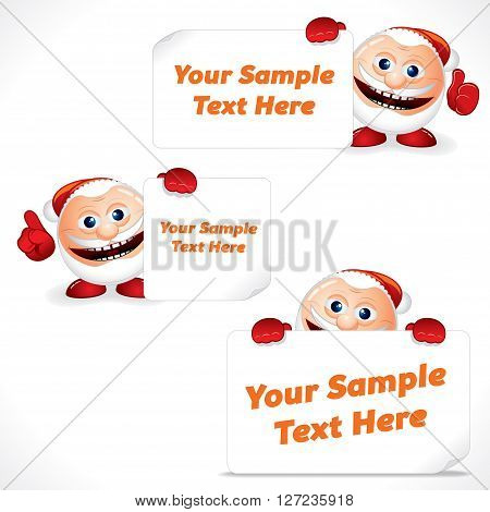 Santa Claus Showing Blank Banner and Sign. Advertising Image Ready for Your Text and Design.
