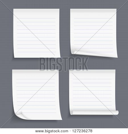 Lined sticky notes set, vector eps10 illustration
