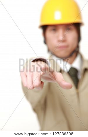 Japanese construction worker decided on white background