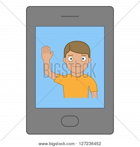 Stock image greeting on the smartphone. Online community for the smartphone. Hello and smartphone.