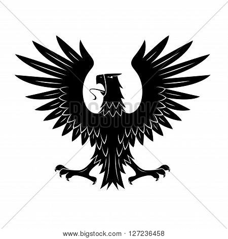 Black heraldic eagle of ancient royal insignia or medieval knight coat of arms with rear view of noble bird with spread feathered wings. Great for tattoo or heraldic theme design