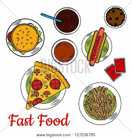 Sketched vegetarian pizza, topped with mushrooms and tomatoes, served with hot dog, cheeseburger with fresh vegetables on sesame bun, french fries with tomato dipping sauces and chocolate cupcake with coffee and cold soda