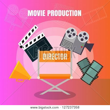 Cinema And Film Making, Movie Production Stuff  Set  Design Concept  With Director Viewers And Film