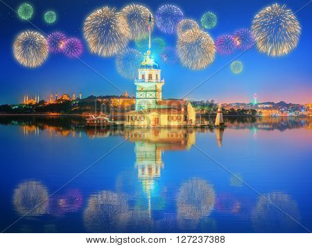 Beautiful fireworks near Maiden Tower Istanbul, Turkey