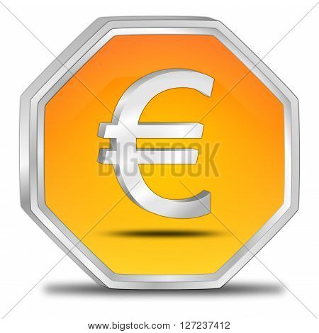 orange Button with Euro sign 3D Illustration