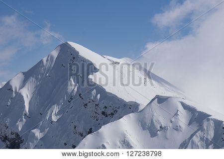 Mountain landscape, ski resort Krasnaya Polyana. Russia, Sochi, Caucasus Mountains.