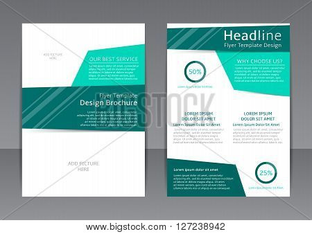 Vector design of the turquoise and white flyer, cover and report. Vector template of brochure with place for picture for your business in A4 size.
