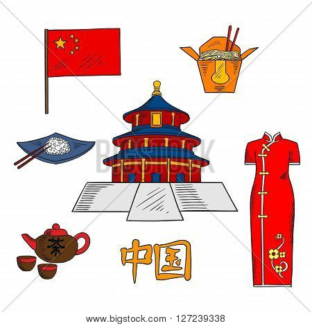 Culture traditions, cuisine and tourist attractions of China with colored sketches of national flag of China, tea set, rice and noodles dishes with chopsticks, ancient temple of Heaven and bright red cheongsam dress. Use as travel or oriental culture desi