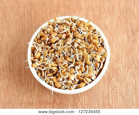 Healthy food sprouted horse gram in a bowl.