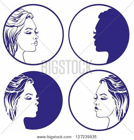 beautiful girl sketch collection vector logo design template. cosmetic, makeup or young woman icon