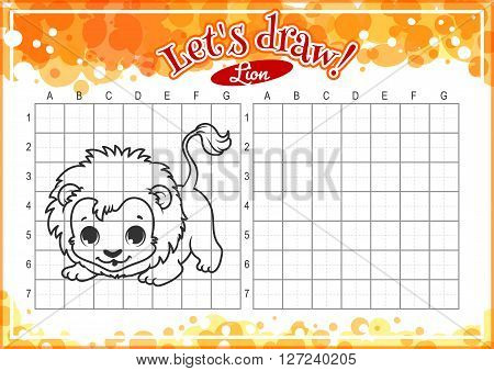 Educational game for kids. How to draw cute cartoon lion. Drawing with grid. Worksheet for class or at home with the kids. A4 size. Horizontal orientation.