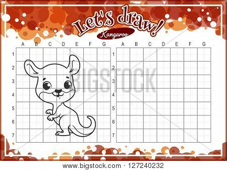 Educational game for kids. How to draw cute cartoon kangaroo. Drawing with grid. Worksheet for class or at home with the kids. A4 size. Horizontal orientation.