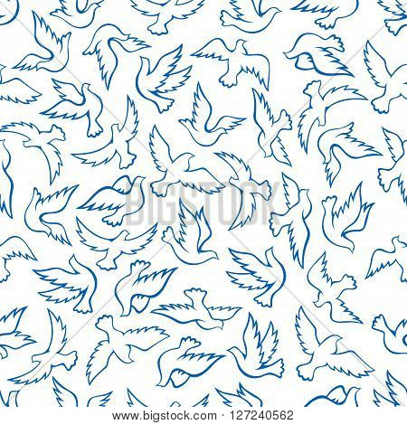 Seamless blue silhouettes of flying birds pattern with soaring flight of doves over white background. May be use as wallpaper or religion theme design