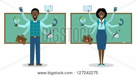 Miltitasking african american man and woman. in school.